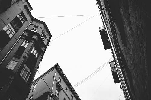 white low-angle photography of grayscale buildings urban