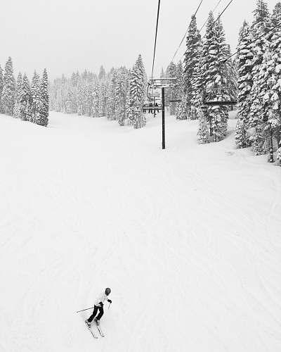snow man doing ski near cable car skiing