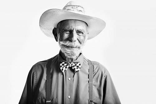 human man in collared shirt with cowboy hat face