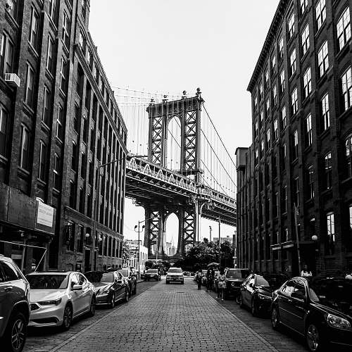 city Manhattan Bridge, New York during daytime building