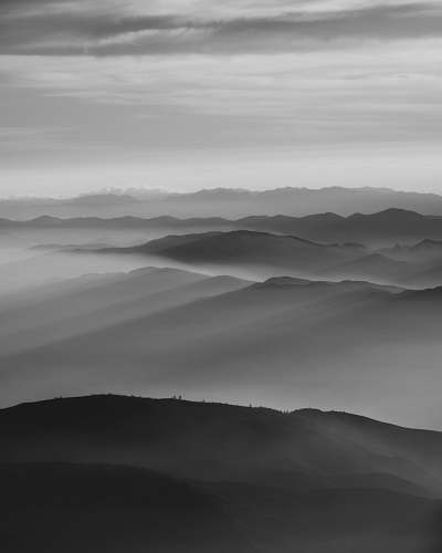 nature mountains and fog grey