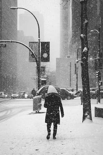 winter person holding umbrella standing near street light snow