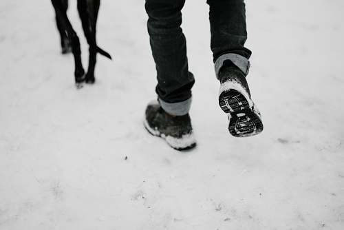 human person walking with black dog on snow person