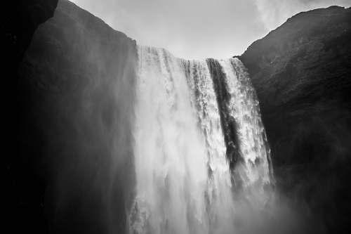 nature photo of waterfalls grey