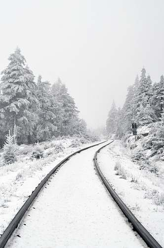 winter railway covered by snow harz