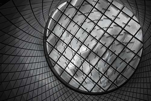architecture round gray mesh container close up photography ceiling