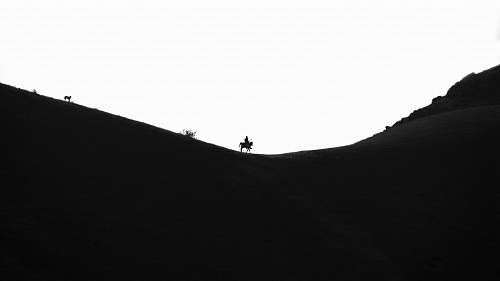 soil silhouette of person riding horse nature