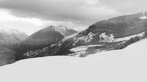 grey snow terrain and mountains nature