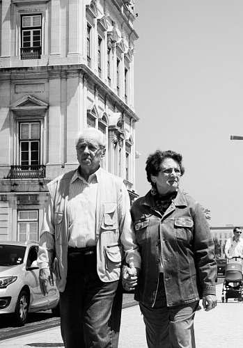 jacket two people walking on street coat
