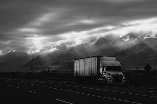 transportation white trailer truck on road truck