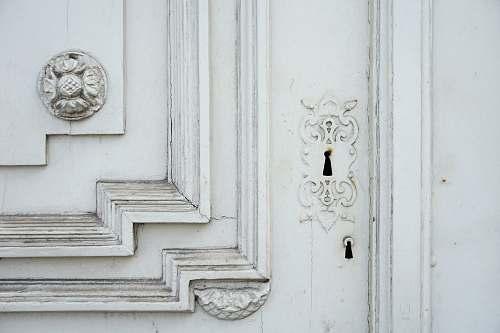 grey white wooden frame door