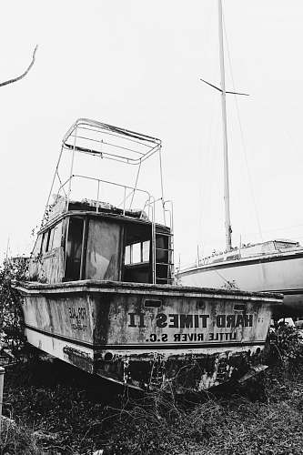 photo black-and-white white boat on grass transportation free for commercial use images