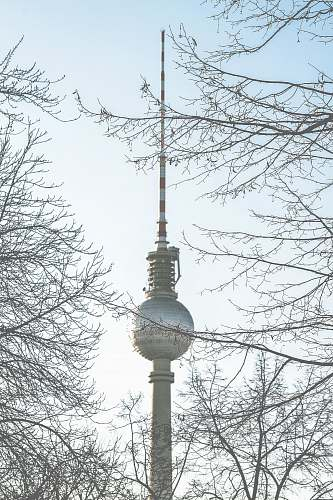 architecture Berlin Tower captured with bare trees under clear blue sky tower