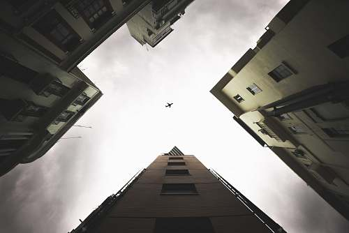 architecture low-angle photography of airplane during daytime city