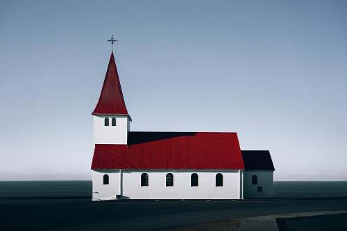 architecture red roofed white concrete church illustration steeple