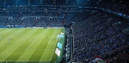 arena soccer players on green game field gelsenkirchen