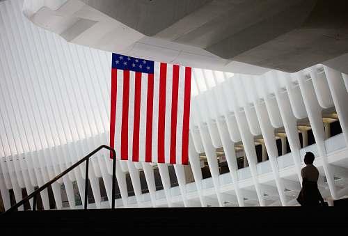 flag USA flag hanging on hallway modern design