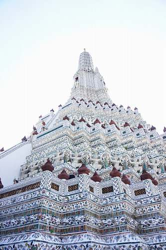 thailand white, blue, and red floral tower building architecture