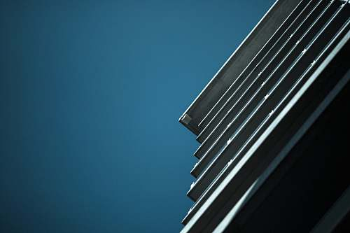 blue worm's eye view of white building lines