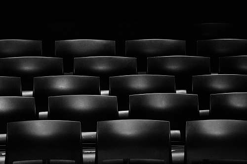 black-and-white gray cinema chair formation black