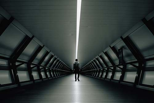 chair man walking inside tunnel furniture