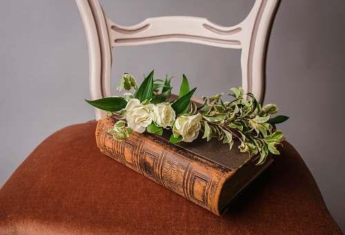 book white roses on brown book flower arrangement
