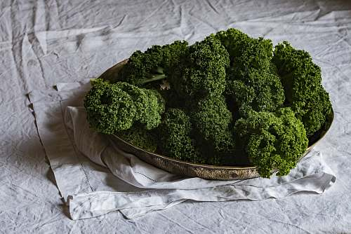 broccoli green leaf plants in gold-colored tray vegetable