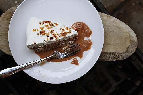 dessert silver fork on round white ceramic plate london
