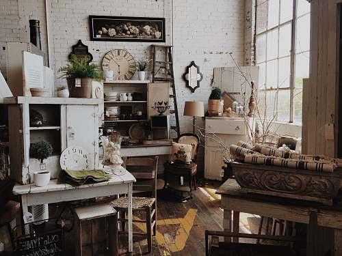 white white wooden cabinet near table inside room interior
