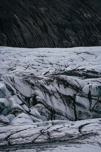 iceland white and black snowfield landscape mountain