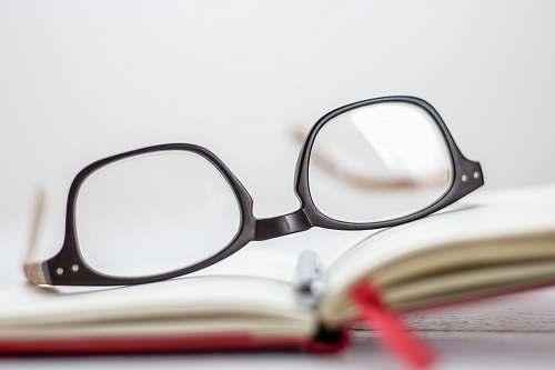 white clear eyeglasses with black frames frame