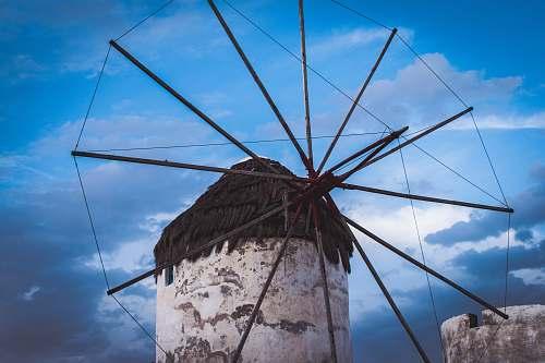 mykonos white and black windmill turbine