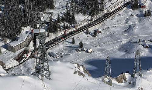 snow aerial photo of snow terrain near railway during daytime switzerland