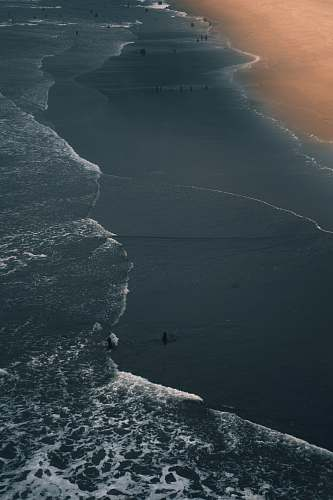 ocean bird's-eye view photography of people on beach water