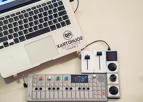 computer gray and black audio mixer laptop