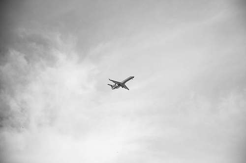 black-and-white Grayscale photo of airplane manchester