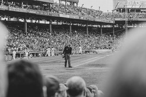 black-and-white grayscale photography of people playing baseball crowd