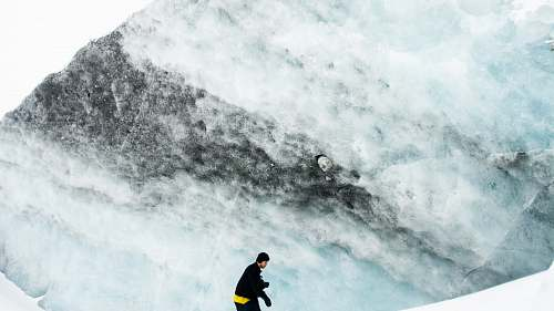 canada man wearing black jacket and black beanie cap on icy mountain columbia icefields tour
