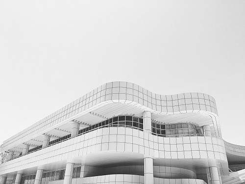 black-and-white top view of white building building
