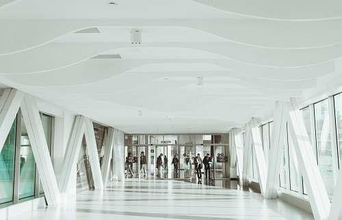 hallway white concrete hallway interior