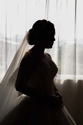 people woman in white bridal gown and veil person