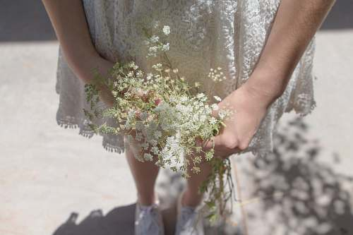 person woman wearing white dress holding white petaled flower people