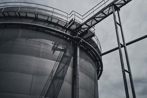 tower Black and white shot of industrial metal steel tower in Budějovický Budvar, národní podnik steel