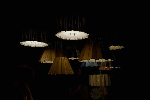 lampshade turned-on ceiling lamps in dark room lighting