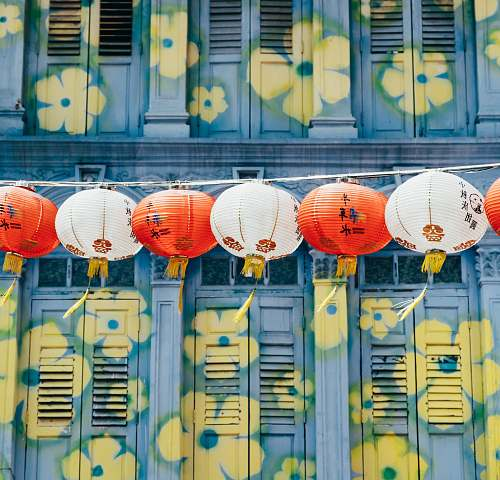 lamp Chinese lantern hanging near windows chinatown