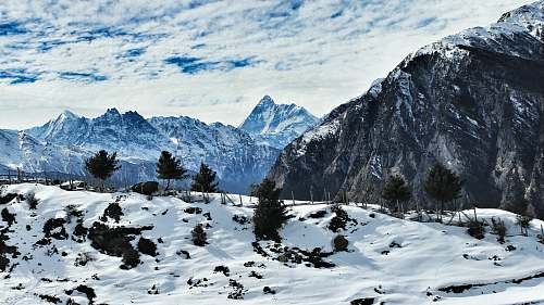 nature landscape photography of mountains snow
