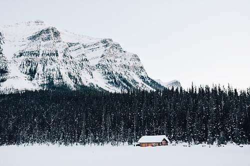 photo banff national park snow-covered cabin near forest canada free for commercial use images