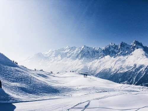 snow snowy mountain sky