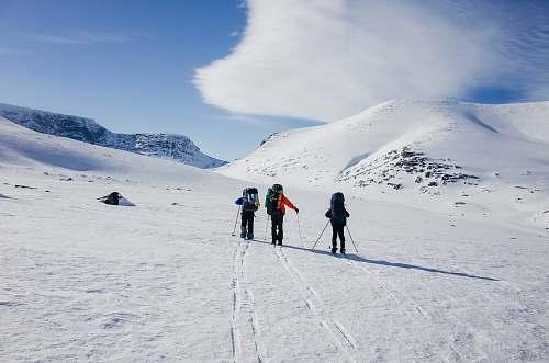 hike three person playing snow ski kolsky district