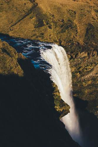 iceland aerial photography of waterfalls at daytime landscape